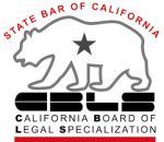 Specialization as criminal defense lawyer issued by state bar of California criminal defense attorney specialist logo showing bear and this is the official log of the state bar of california