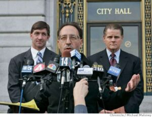 Horowitz Rains and Stern at city hall press conference discussing the video scandal involving SF police officers